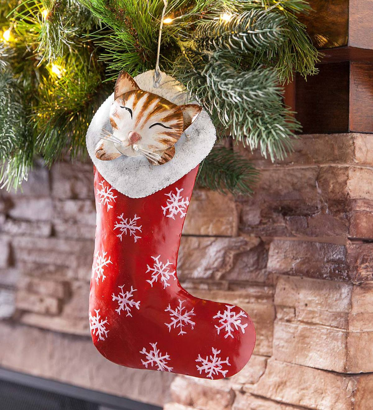 Kitten in a Stocking Metal Ornament