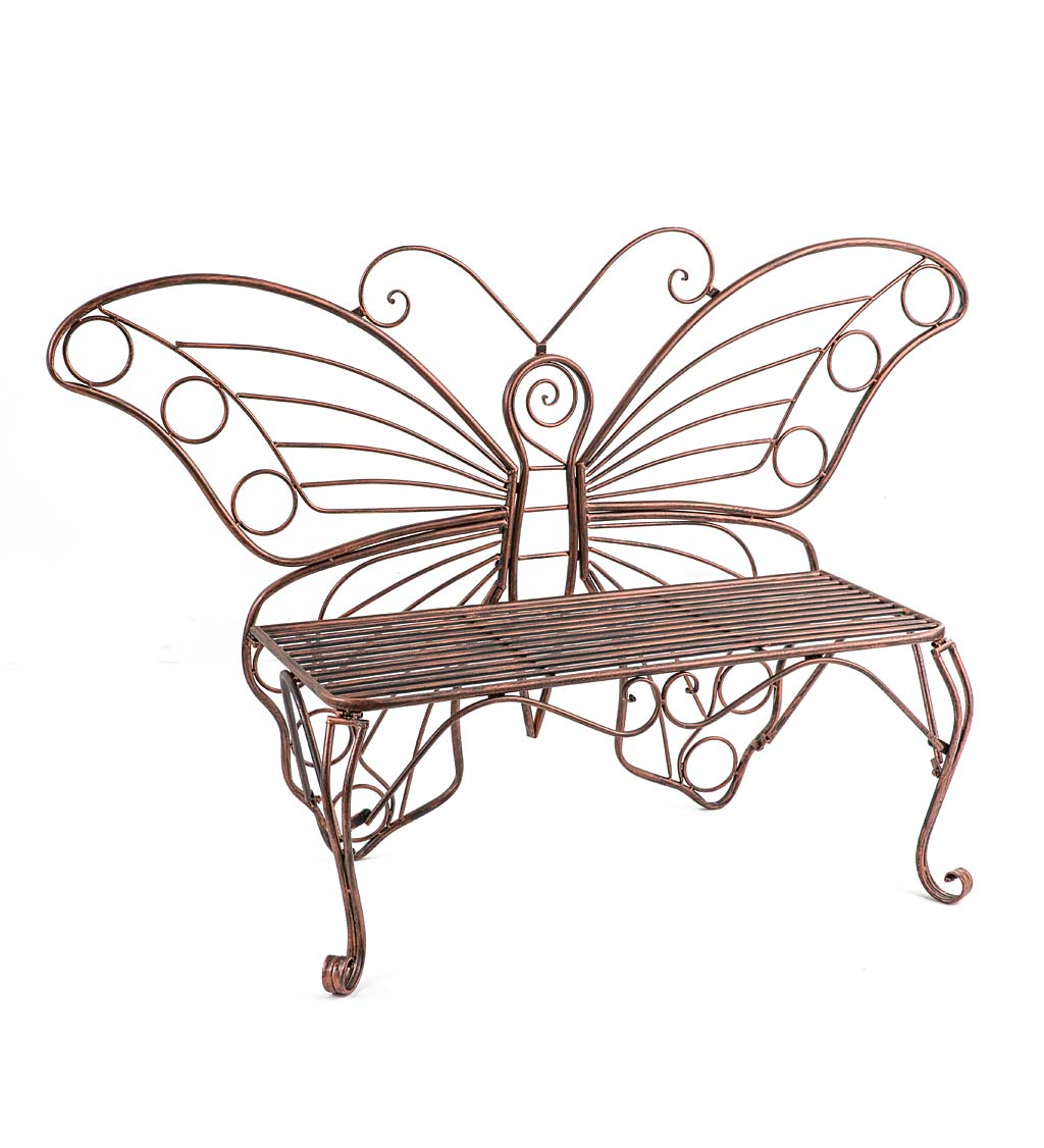 Metal Butterfly Garden Bench
