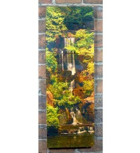 Handcrafted Forest Waterfall Wood Wall Art by Gizaun Art™