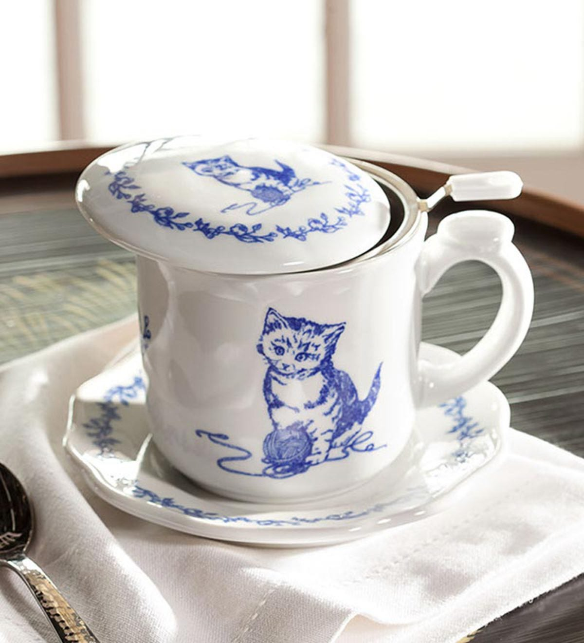 Pretty Kitty Covered Teacup And Saucer