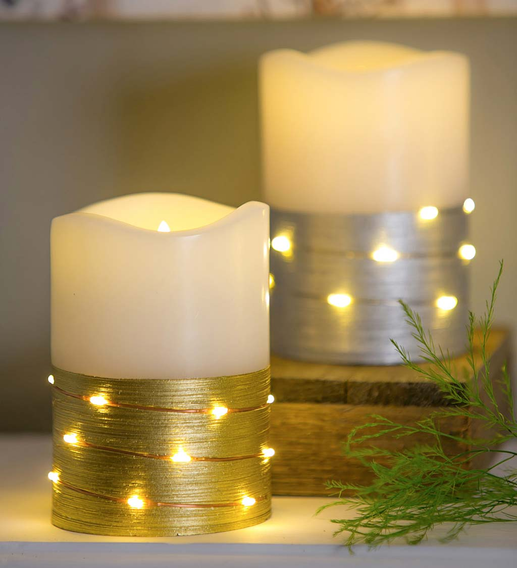 LED Half Metallic Wire Wrapped Flameless Pillar Candles, Set of 2 - Silver and Gold