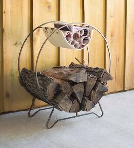 Round Metal Log Rack with Canvas Sling