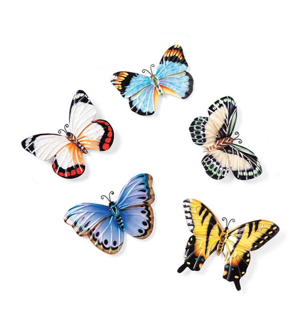 Set of 5 Handpainted Tin Butterfly Magnets