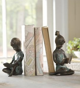 Cast Iron Reading Children Bookends with Bronze and Patina Finish, Set of 2