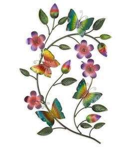 Metal Butterflies on Branches Wall Art