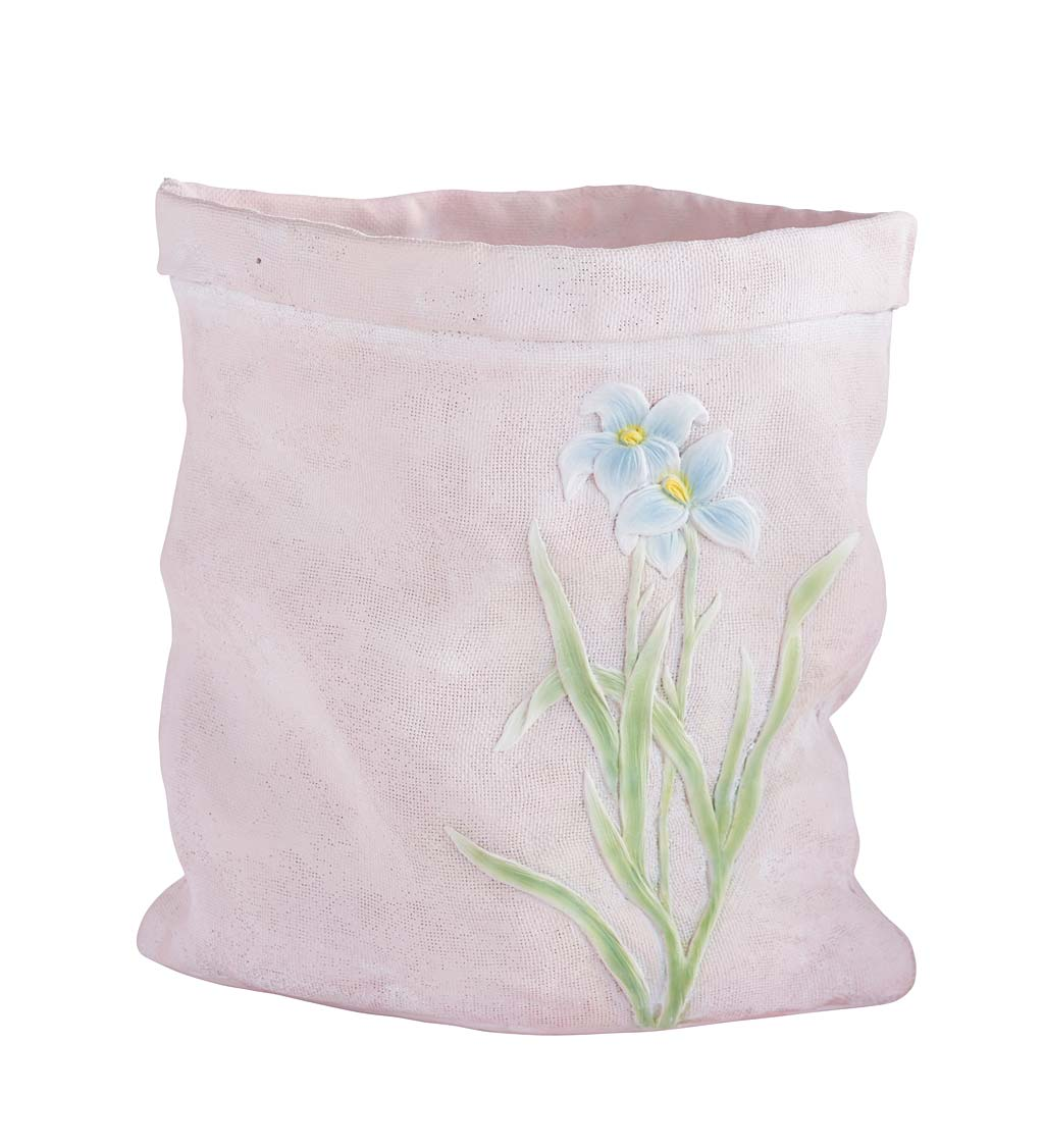 Weather-Resistant Resin Rumpled Bag Planter with Iris Design swatch image