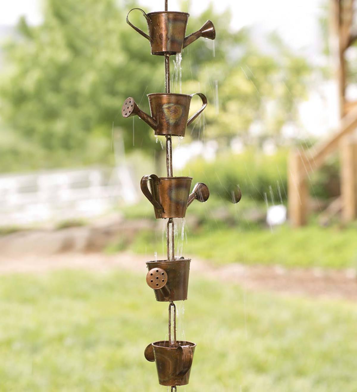 Watering Can Rain Chain | Yard & Garden Decor | Hidden and ...