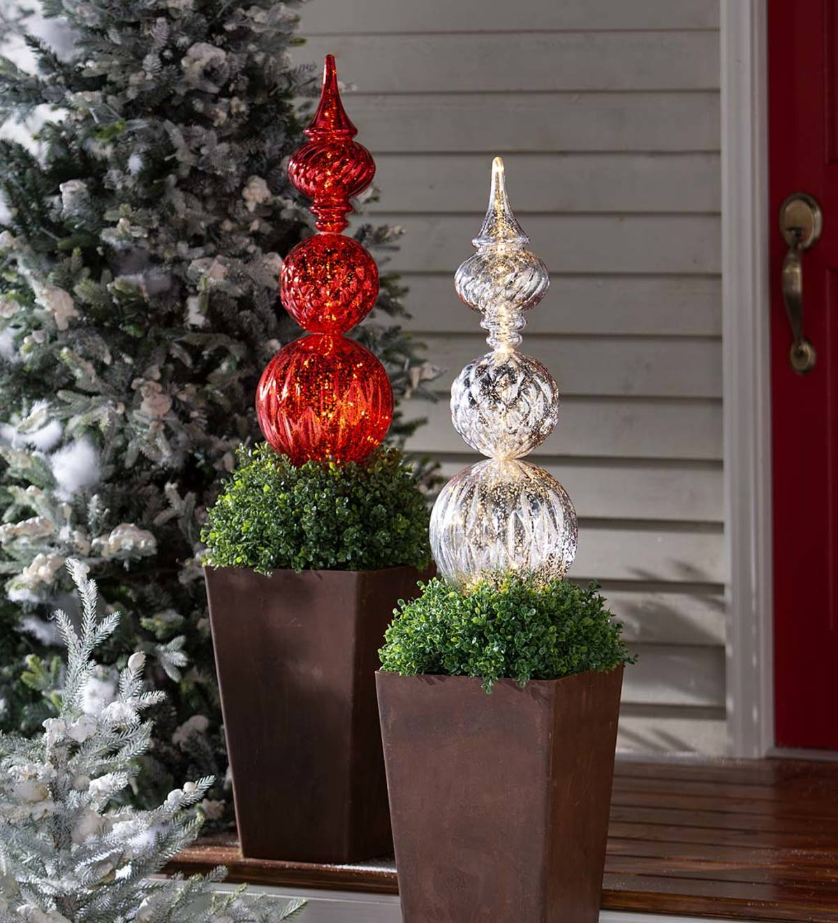 Indoor Outdoor Lighted Large Shatterproof Holiday Finial Ornament Stake Red Wind And Weather