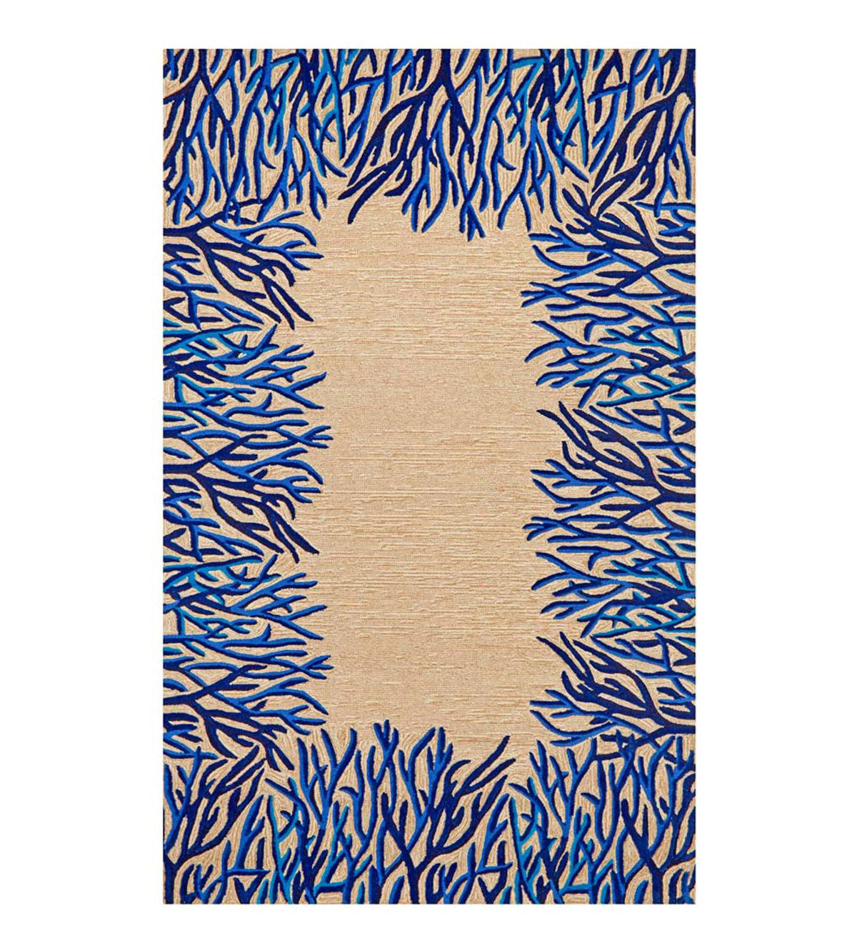 Blue Coral Border Indoor/Outdoor Rug