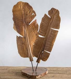 Hand-Carved Teak Banana Leaf Sculpture