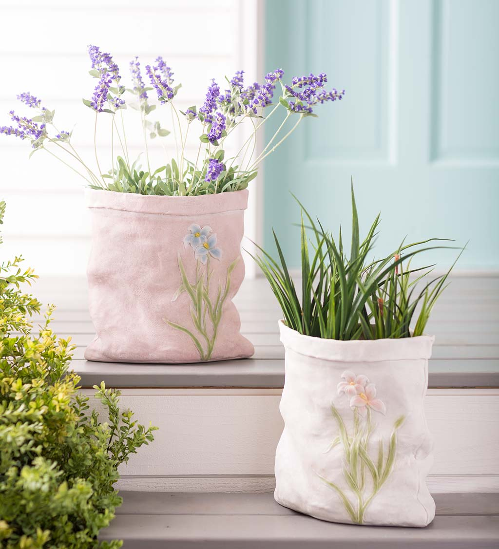 Weather-Resistant Resin Rumpled Bag Planter with Iris Design