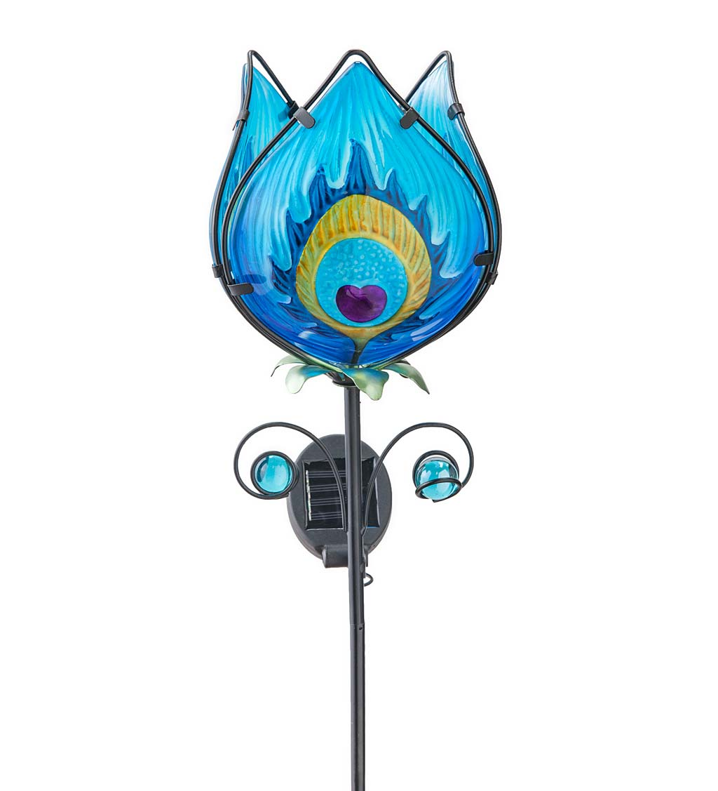 Solar Lighted Metal and Glass Flower Garden Stake swatch image
