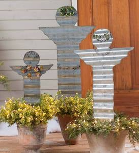 Galvanized Metal Angel Stakes, Set of 3