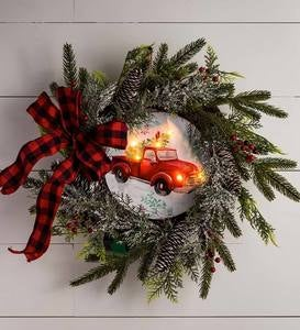 LED Antique Truck Pine Cone and Berries Wreath