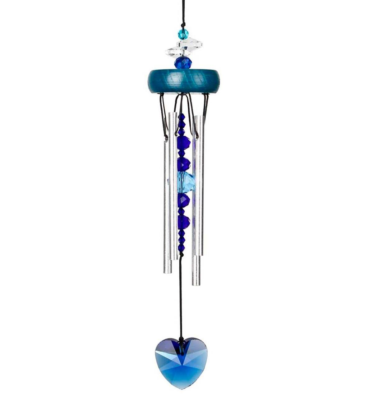 Small Wind Chime with Blue Heart and Faux Crystals