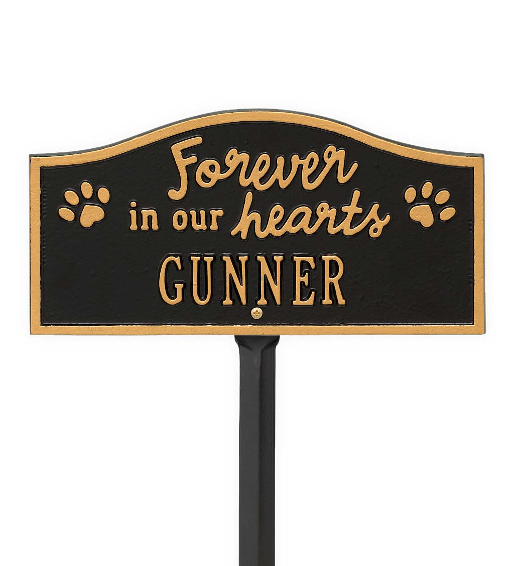 Forever In Our Hearts Customizable Metal Pet Memorial Marker Stake - Black