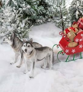 Siberian Husky Dog Sculptures and Red Metal Sleigh