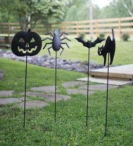 Metal Halloween Garden Silhouette Stakes, Set of 4
