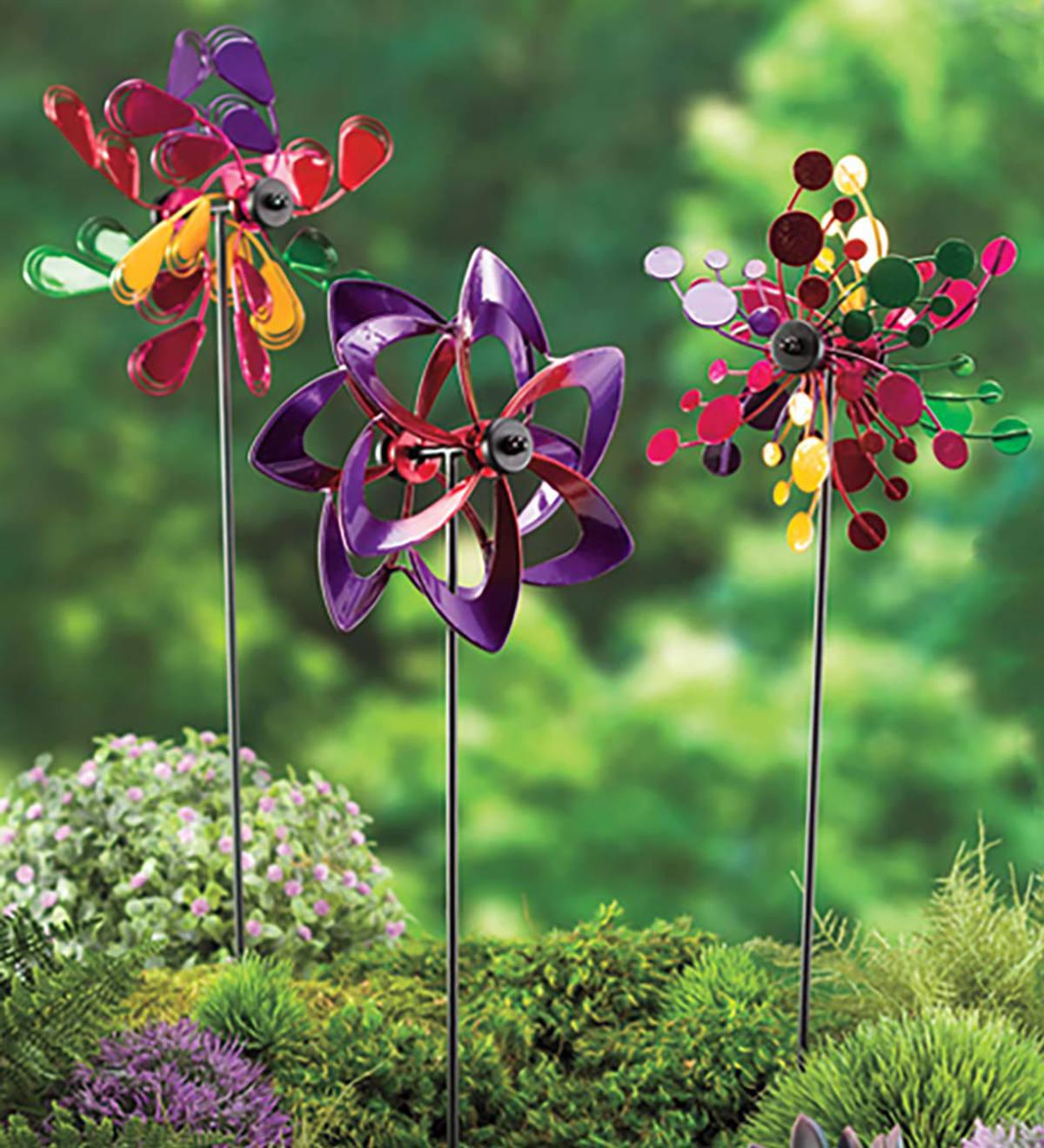 Pinwheel Mini Wind Spinners with Garden Stake, Set of 3 - Copper-Colored - Multi