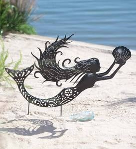 Metal Mermaid Silhouette Garden Stake