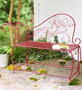 Red Metal Scroll Bench
