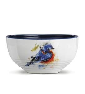 Dean Crouser Watercolor Bluebird Soup Bowl