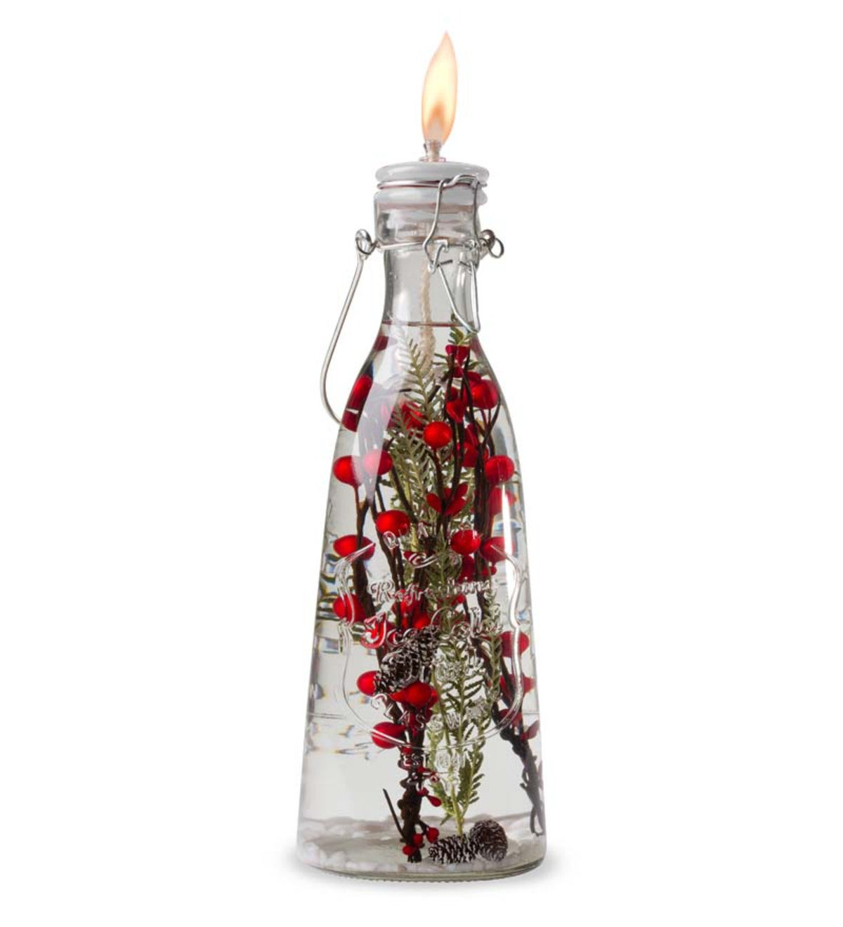 Red Berries Milk Bottle Lifetime Oil Candle