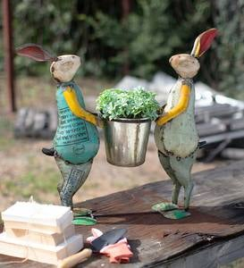 Metal Pair of Rabbits Planter
