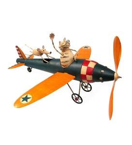Metal Cat and Mouse Airplane Whirligig