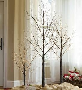 "Small Birch Tree with 300 Micro Lights, 39""H - Brown"