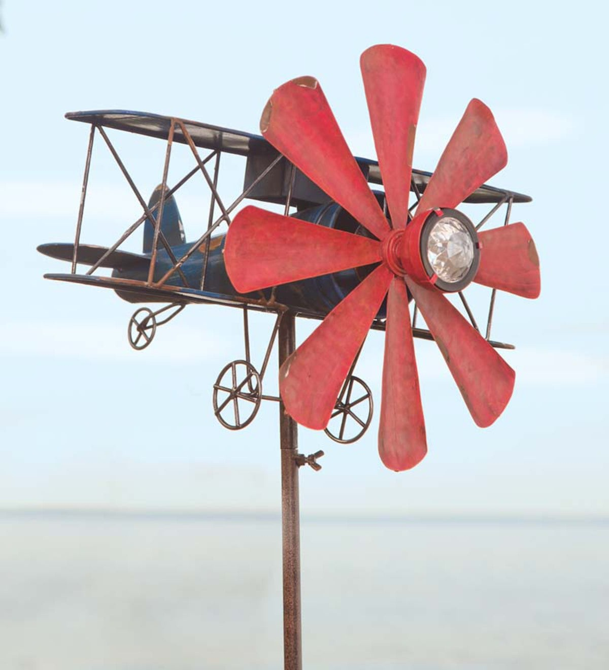 Biplane With Solar Light Metal Wind Spinner