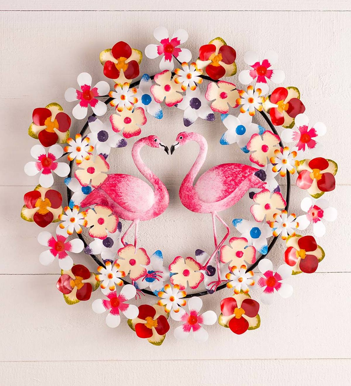 Handcrafted Colorful Metal Flower Wreath with Flamingo Duo