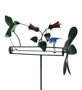 Handcrafted Hummingbird and Dragonfly with Flowers Metal Propellor Whirligig