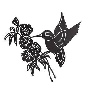 Hummingbird and Flower Silhouette Metal Wall Art