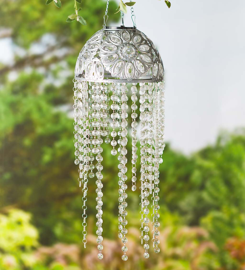 Metal Outdoor Solar Chandelier with Clear Acrylic Beads