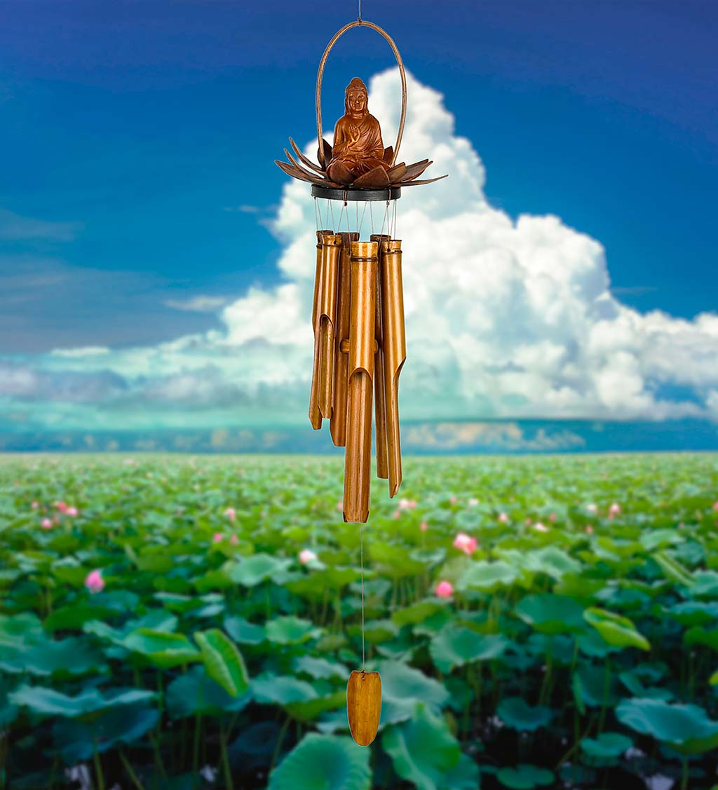 Handcrafted Seated Buddha in Lotus Bamboo Wind Chime