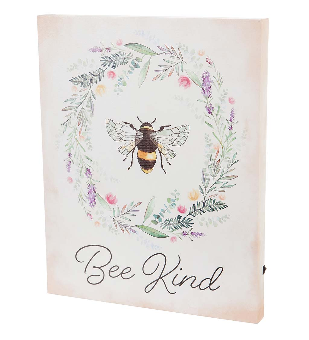 Bee Kind Lighted Canvas Wall Art
