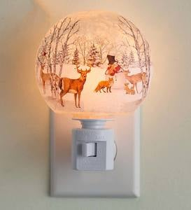 Handcrafted Glass Woodland Holiday Night Light