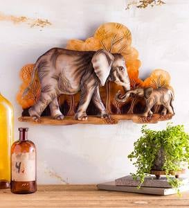 Handcrafted Metal Elephant Mother and Baby Indoor Wall Art