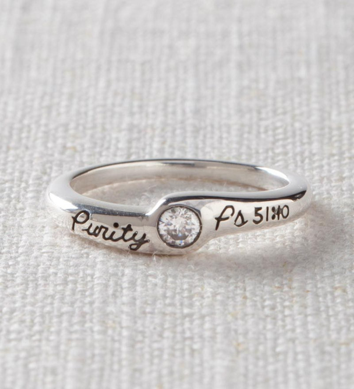 Sterling Silver Purity Ring with Cubic Zirconia - Sterling Silver - Size 5