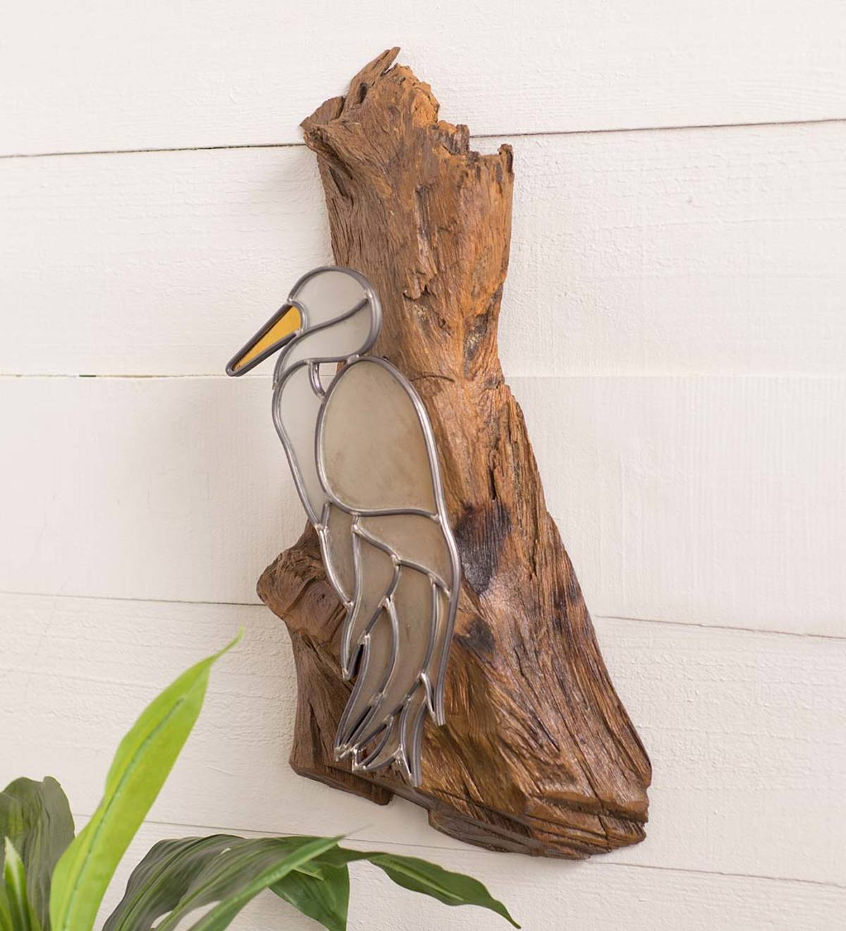 Stained Glass Crane On Teak Wood Wall Art Wind And Weather