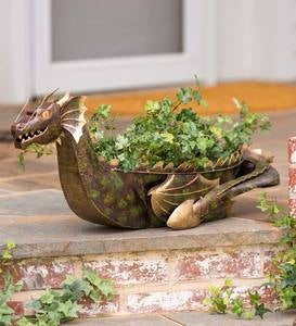 Handcrafted Reclaimed-Metal Bronze and Golden Dragon Planter