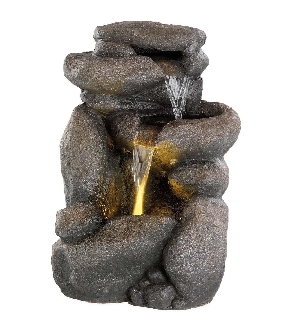 Lighted River Rock Fountain