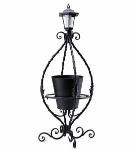 Black Wrought Iron Plant Stand with Solar Light