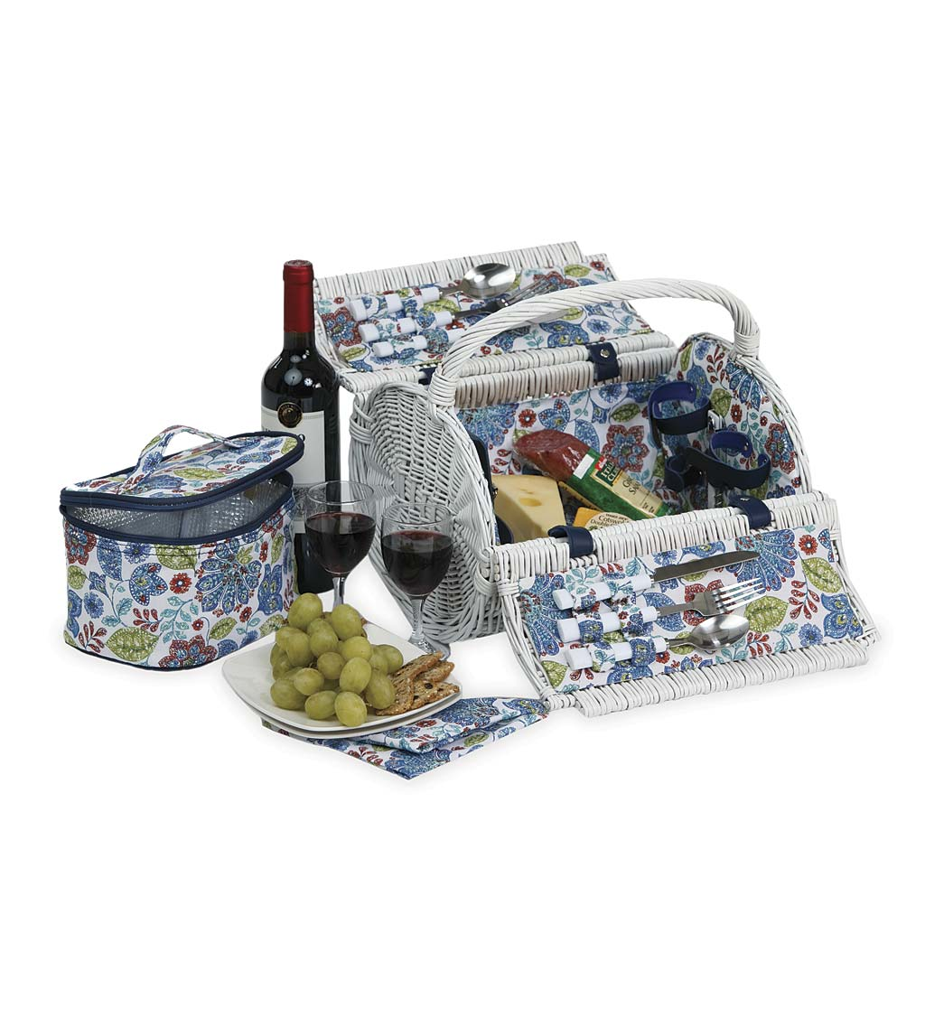 White Wicker Picnic-For-Two Basket Set