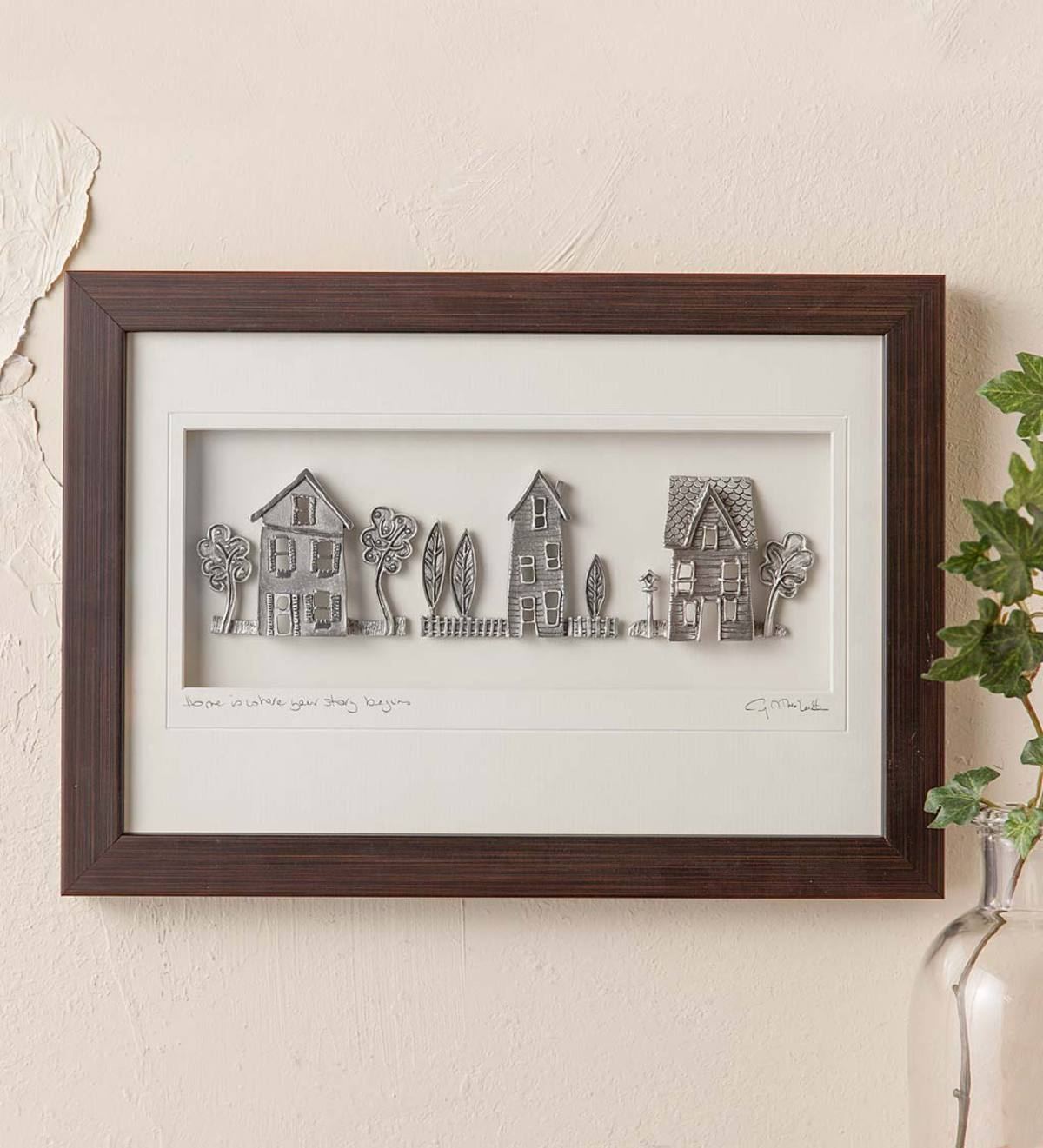 Wood-Framed Pewter Cottages Wall Art