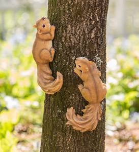 Tree-Mount or Tabletop Squirrel Sculptures, Set of 2
