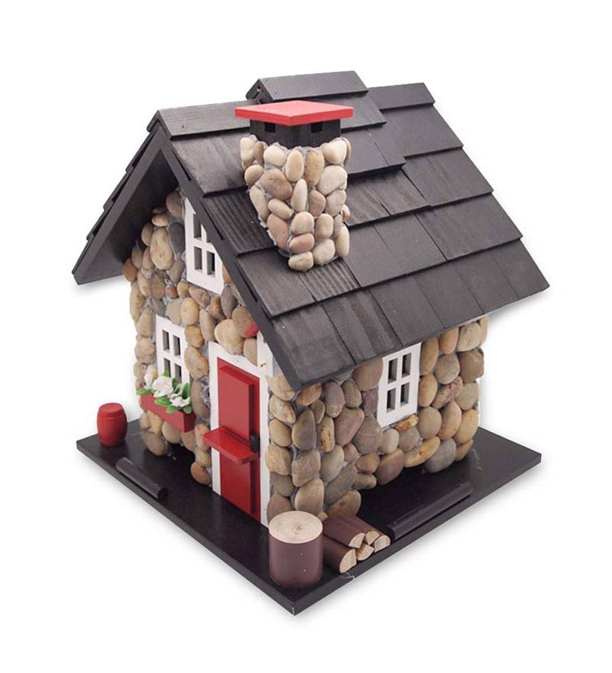 Wood Stone Cottage Bird Feeder