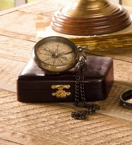 Brass Compass on Chain with Wood Box
