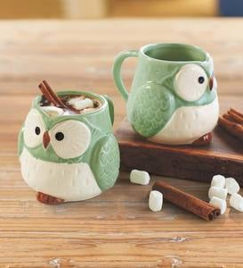Ceramic Owl Mugs, Set of 2
